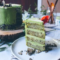 Matcha Banana Cake with Black Sesame Brittle